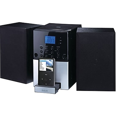RCA® RS2128iH Docking Audio Shelf System For iPhone, iPod, Black