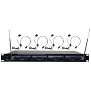 Pyle® Pro PDWM4400 Rack Mount 4 Mic VHF Rack Mount Wireless Lavalie/Headset System