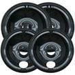 Range Kleen® 4 Pack Style B Porcelain Drip Pans, Black