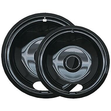 Range Kleen® 2 Pack Style A Porcelain Drip Pans, Black