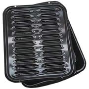 Range Kleen® 2 Piece Porcelain Broiler Pan With Grill, Black