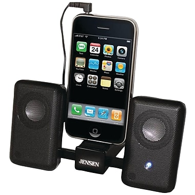 Jensen® SMPS-225 Compact Folding Stereo Speaker For iPhone, iPod, MP3, Black
