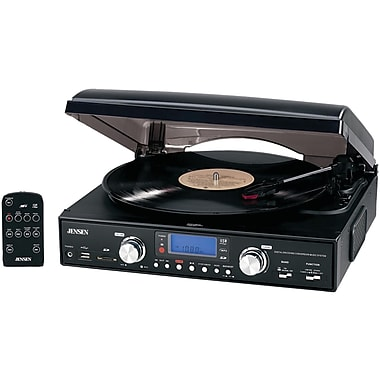 Jensen® JTA-460 3-Speed Stereo Turntable With MP3 Encoding System