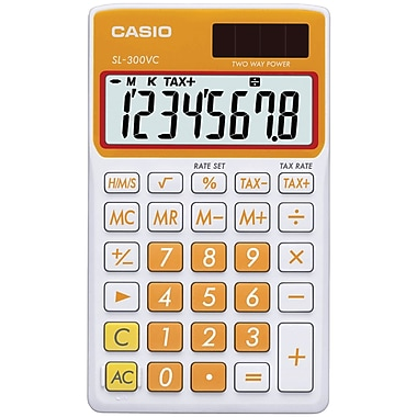 Casio® SL300VC 8-Digit Display Solar Wallet Calculator, Orange