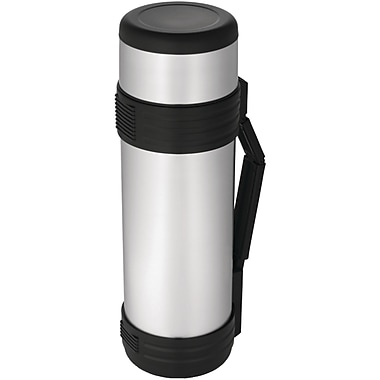 Thermos® 61 oz. Vacuum Insulated Stainless Steel Beverage Bottle With Folding Handle, Black/Silver