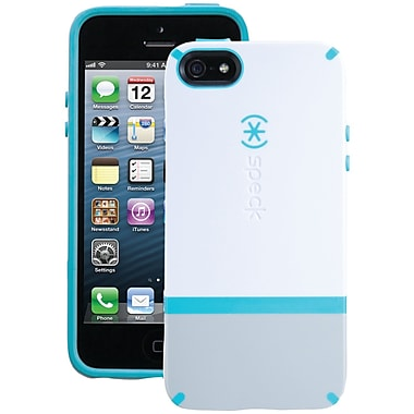 Speck® Candyshell Flip Case For iPhone 5, White/Pebble Gray/Peacock Blue