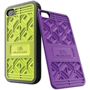 Musubo™ Sneaker Case For iPhone 4/4s, Black Bumper With Lime/Purple Back Plates