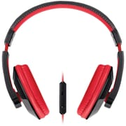Merkury Urban Beatz Tempo Headphones With In-line Microphone, Black/Red
