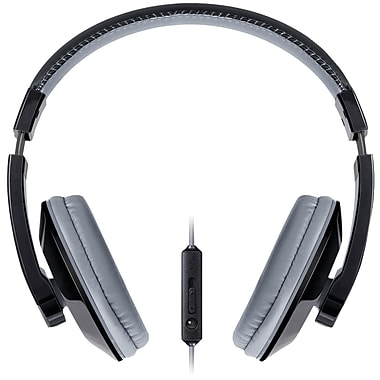Merkury Urban Beatz Tempo Headphones With In-line Microphone, Black/Gray