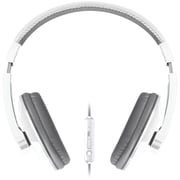 Merkury Urban Beatz Tempo Headphones With In-line Microphone, White/Gray