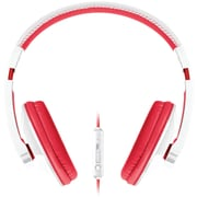 Merkury Urban Beatz Tempo Headphones With In-line Microphone, White/Red