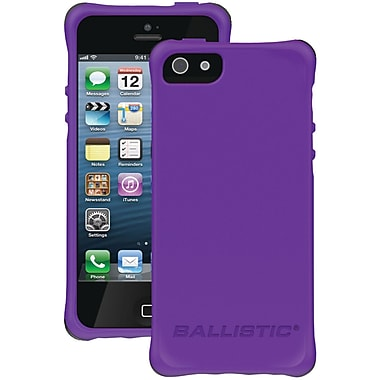 Ballistic® LS Smooth Case For iPhone 5, Purple Tpu With 4 Lime Green/Pink/Charcoal/Teal Bumpers