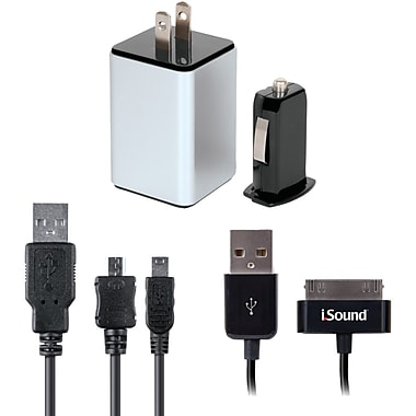 iSound® 4-in-1 Combo Charger Pack For iPad/iPhone/iPod and USB Device, Black/White
