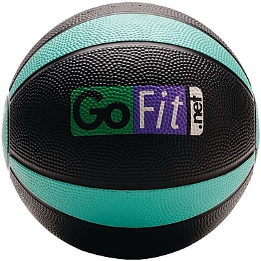 Gofit Rubber Medicine Ball, 4 lbs, Black/Green