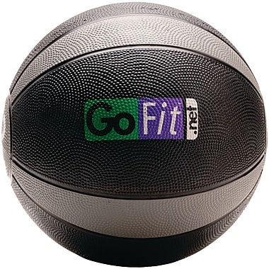 Gofit Rubber Medicine Ball, 12 lbs, Black/Gray