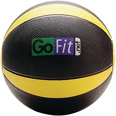 Gofit Rubber Medicine Ball, 10 lbs, Black/Yellow