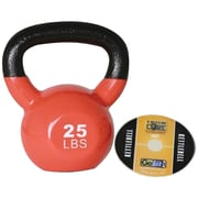 Gofit GF-KBELL25 Premium Vinyl-Dipped Orange Kettlebell With Training DVD, Orange
