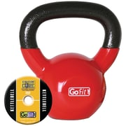 Gofit GF-KBELL15 Vinyl-Dipped Red Kettelbell And Iron Core Training DVD, Red