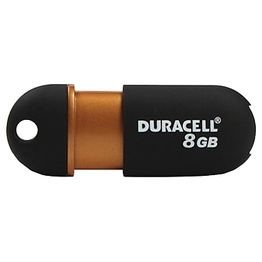 Duracell® 8GB Capless USB 2.0 Pen Drive, Black/Copper