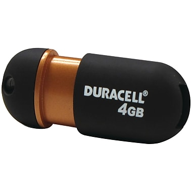 Duracell® 4GB Capless USB 2.0 Pen Drive, Black/Copper