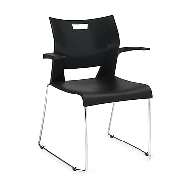 Global Mid-Back Polypropylene Stackable Chair, Fixed Arm, Gray