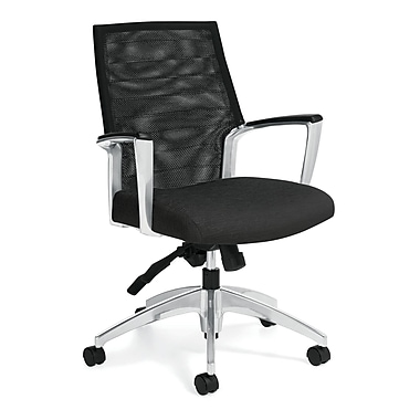 Global Accord Fabric Conference Office Chair, Fixed Arms, Brown (QS26774ALS103)