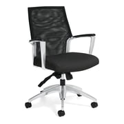 Global Accord Urban Fabric Mesh Medium Back Tilter Chair, Black Coal