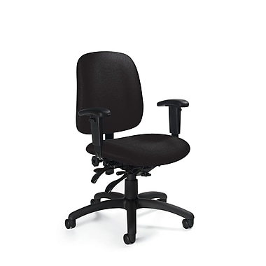 Global Low-Back Fabric Task Chair, Adjustable Arm, Black