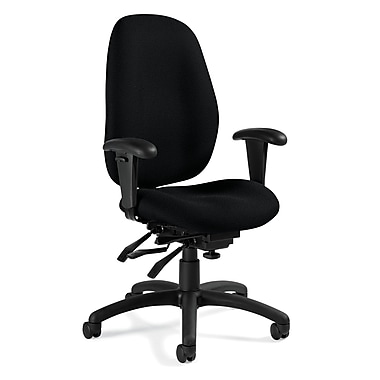 Global Malaga® Fabric Computer and Desk Office Chair, Charcoal Gray, Adjustable Arm (QS31403TDBKQL11)