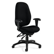 Global Malaga® Fabric Computer and Desk Office Chair, Navy, Adjustable Arm (QS31403TDBKQL14)
