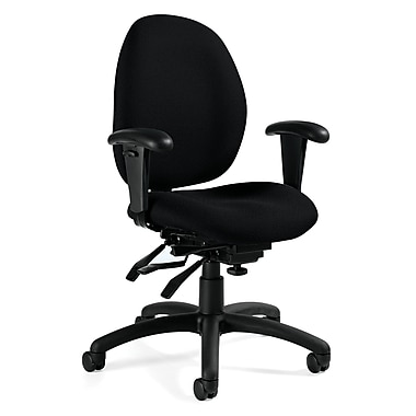 Global Malaga Low-Back Jenny Fabric Task Chair, Adjustable Arms, Black