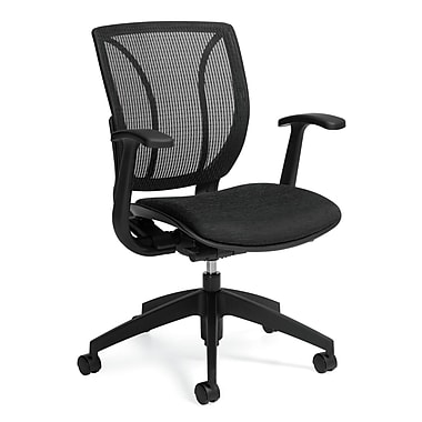 Global Roma Quilt Fabric Mesh Medium Back Computer Chair With Arms, Charcoal Gray