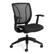 Global Roma Mid-Back Mesh and Quilt Fabric Computer Chair, Fixed Arm, Mint