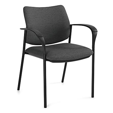 Global Sidero Urban Fabric Mid Back Stacking Chair With Arms, Brown Ridge