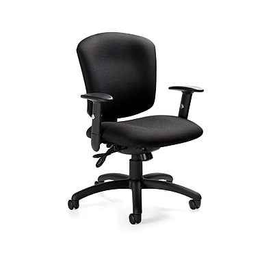 Global Supra X Mid-Back Multi-Tilter Quilt-Fabric Office Chair, Adjustable Arms, Gray