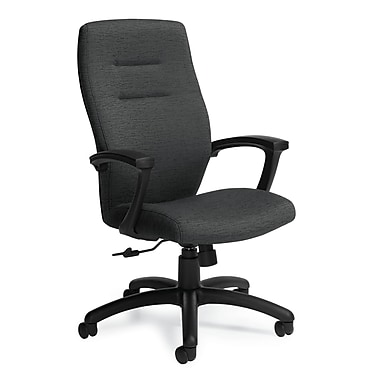 Global QS50904BKPB01 Synopsis Pebble Fabric High-Back Executive Chair with Fixed Arms, Clay