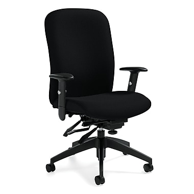 Global Truform Fabric Computer and Desk Office Chair, White Sand, Adjustable Arm (QSTS54503BKUR19)
