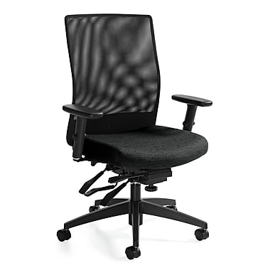 Global Weev Fabric Computer and Desk Office Chair, Adjustable Arms, Charcoal Gray (QS22213GLBKQL11)