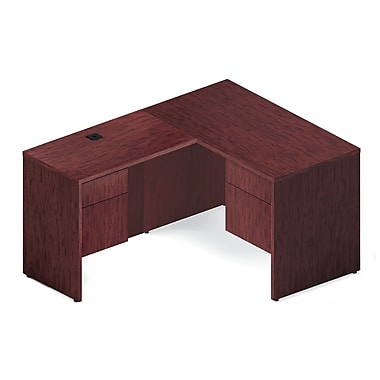 Global Genoa Desking Bundle #4, Quartered Mahogany Laminate, 69.5in.W x 60in.L x 29in.H