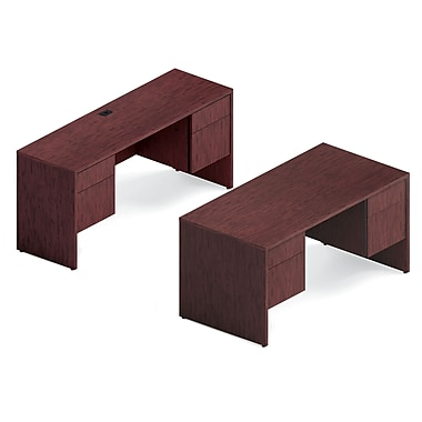 Global Genoa Desking Bundle #1, Quartered Mahogany Laminate, 66in.W/60in.W x 98in.L x 29in.H