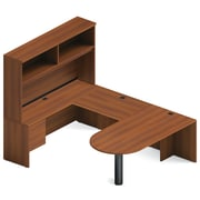 "Global Adaptabilities Desking Bundle #6, Avant Honey Laminate, 72""W x 104""L x 65""H/29""H"