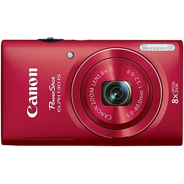 Canon® PowerShot ELPH 130 IS Compact Digital Camera, 16 Mega Pixels, Red