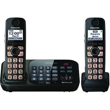 Panasonic® KX-TG4742B Expandable Digital Cordless Answering System With 2 Handsets, 70 Name/Number