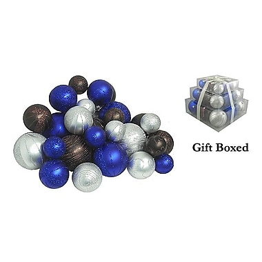 CMI 2.5in. - 4in.(Dia) Shatterproof Christmas Ball Ornament Set, Blue/Chocolate/Silver