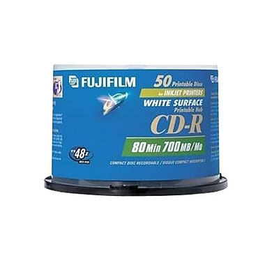 Fujifilm 700MB White Inkjet Printable CD-R, Spindle, 50/Pack