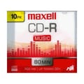 Maxell 700MB 40X Gold CD-R, Slim Jewel Case, 10/Pack