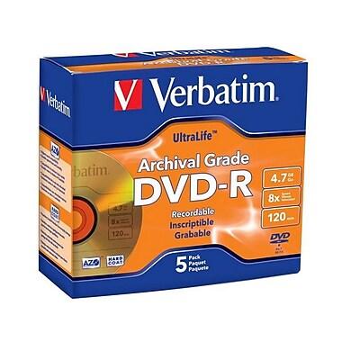 Verbatim® UltraLife 4.7GB 8X Archival Grade DVD-R, Jewel Case, 5/Pack