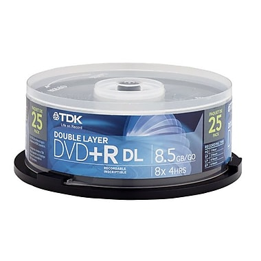Imation TDK® 8.5GB Dual Layer DVD+R, Spindle, 25/Pack