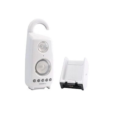 C2G 41310 Wireless Shower Speaker With Dual Power Transmitter, White