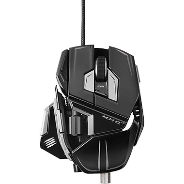 Mad Catz® MCB4371300C2/04/1 M.M.O. 7 Cable Gaming Mouse, Glossy Black